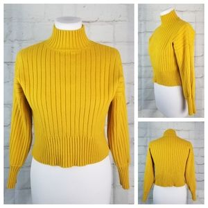 M/L Mustard Yellow Stretchy Cropped Ribbed Sweater